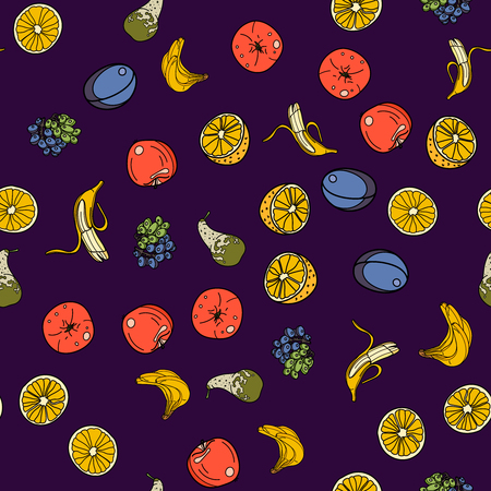 Fruits seamless pattern with orange, banana, apple, pear, grape,plum on violet background. Vector illustration for ads, menu and web banner designs. Organic and healthy food concept.