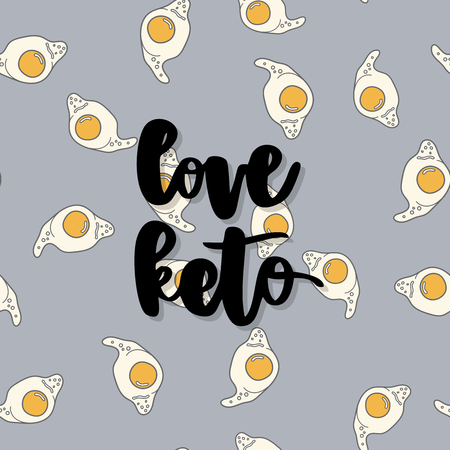 Keto diet hand drawn vector lettering. Love keto diet quote on egg background. Healthy nutrition. Low carb diet collage black lettering. Ketogenic nutrition illustration. Ilustração