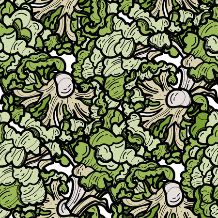 Broccoli seamless pattern on white background. Vector illustration for ads, menu and web banner designs. Organic and healthy food concept. Ilustração