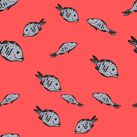 Dorado fishes seamless pattern on red background. Vector illustration for ads, menu and web banner designs. Organic and healthy food concept.