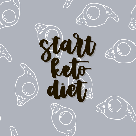 Keto diet hand drawn vector lettering. Start keto diet quote on egg background. Healthy nutrition. Low carb diet collage black lettering. Ketogenic nutrition illustration. Ilustração