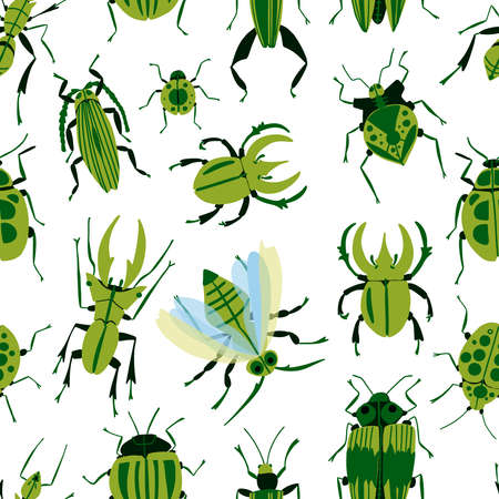 Seamless pattern with insects bugs, firefly, ladybug, cricket, ant, fly. Cartoon vector illustration in modern flat style perfect for wrapping paper and wall decoration.