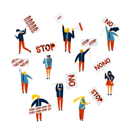 Crowd of protesting people holding banners and placards - stop, no. Men and women taking part in political meeting orparade. Group of male and female protesters or activists. Vector illustration.