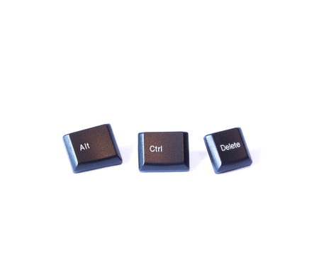 alt: Three buttons Ctrl Alt and Delete on a white background Stock Photo
