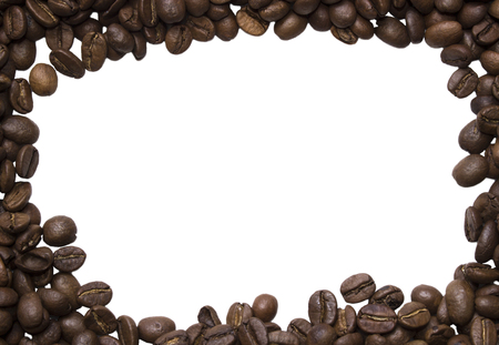 for text: Background of photos spilled roasted Arabica coffee close-up shot with empty space  for text