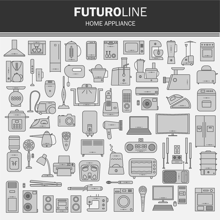 massager: set of futuristic icons. appliances set in a linear style. infographics. vector illustration. Illustration