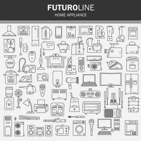 bakery price: set of futuristic icons. appliances set in a linear style. infographics. vector illustration. Illustration