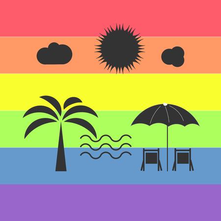 beach on a colorful, rainbow background.
