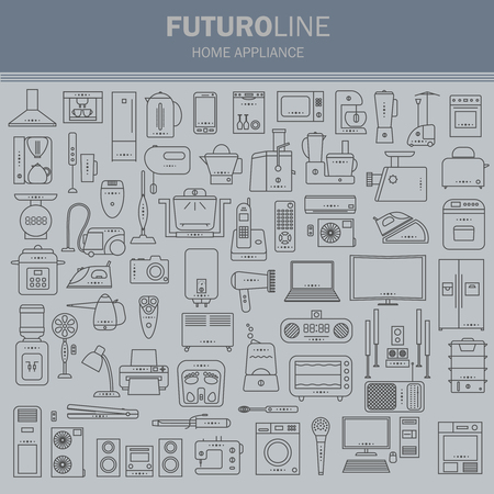 clock radio: set of futuristic icons. appliances set in a linear style.