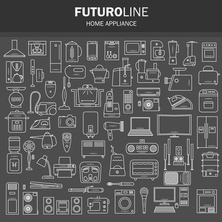 hob: set of futuristic icons. appliances set in a linear style. infographics. vector illustration. Illustration