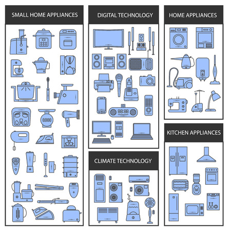 set of futuristic icons. appliances set in a linear style. infographics. vector illustration. Illustration