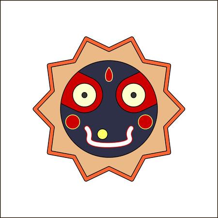 stole: Jagannath, Balabhadra, Subhadra. lineal, iconos futuristas. ilustración vectorial.