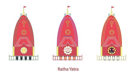 robo: Festival de Ratha Yatra. holiday indio. Festival de los Carros. ilustración vectorial.