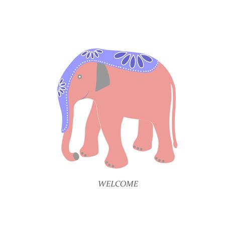 pink elephant: Pink Elephant. bright colored cape decoration. Flat. vector illustration. Illustration