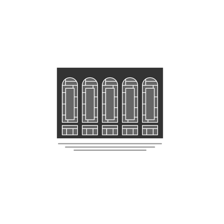 building, concert hall, museum, library. symbol, icon, logo, sign. vector illustration.