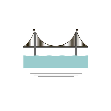 Bridge. icon, symbol, emblem. vector illustration.