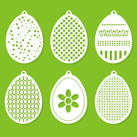 Set of Easter decorations laser cutting. vector illustration.
