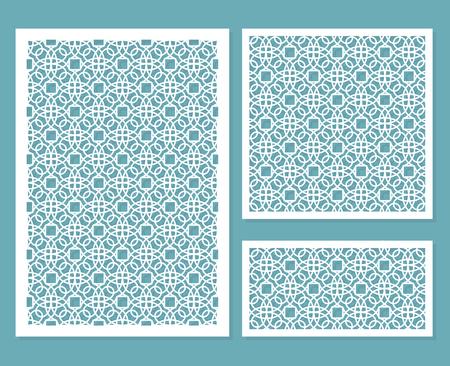 Een set decoratieve panelen voor lasersnijden met een geometrisch patroon voor het uitsnijden van papier, hout, metaal. Element van ontwerp. Vector Illustratie