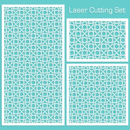 Een set decoratieve panelen voor lasersnijden met een geometrisch patroon voor het uitsnijden van papier, hout, metaal. Vector Illustratie