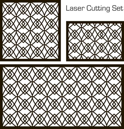 Un ensemble de panneaux décoratifs pour la découpe au laser avec un motif géométrique pour découper le papier, le bois, le métal. Banque d'images - 78780531