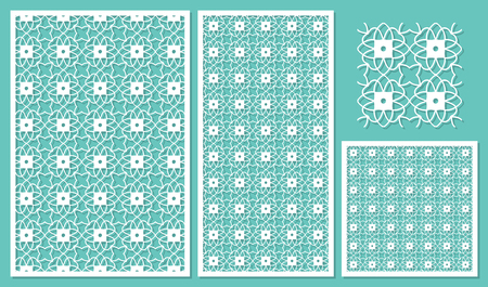 Set of decorative panels laser cutting. Repeating geometric squares pattern tile. Use for decoration paper factory, molding. The ratio 2:3, 1:2, 1:1, seamless. Vector illustration.