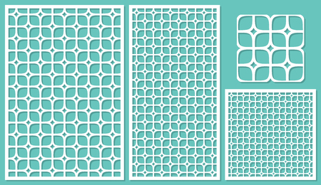 cutting: Set decorative panels-laser cutting. Square geometric pattern allover. The ratio 2:3, 1:2, 1:1, seamless. Vector illustration.