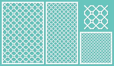 Set decorative panels-laser cutting. Square diagonal geometric pattern allover. The ratio 2:3, 1:2, 1:1, seamless. Vector illustration. Illustration