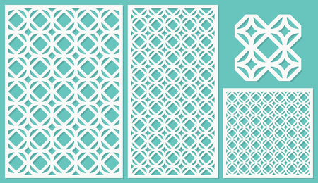 Set of decorative panels laser cutting. a wooden panel. Modern and elegant linear repeating pattern in square shapes. The ratio 2:3, 1:2, 1:1, seamless. Vector illustration. Ilustração
