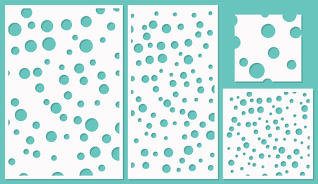 Set of decorative panels laser cutting. a wooden panel. Abstract circles pattern. The ratio 2:3, 1:2, 1:1. Vector illustration. 矢量图像