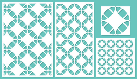 Set of decorative panels laser cutting. Linear geometric pattern. The ratio of 2: 3, 1: 2, 1: 1, seamless. Vector illustration.