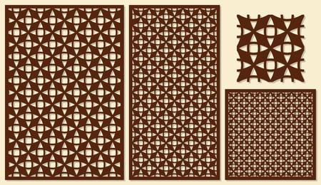 Set of decorative panels laser cutting. Universal diagonal geometric pattern. The ratio of 2: 3, 1: 2, 1: 1, seamless. Vector illustration.