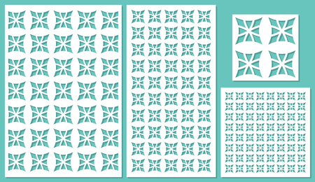 forge: Set of decorative panels laser cutting. Universal square floral pattern. The ratio of 2: 3, 1: 2, 1: 1, seamless. Vector illustration.