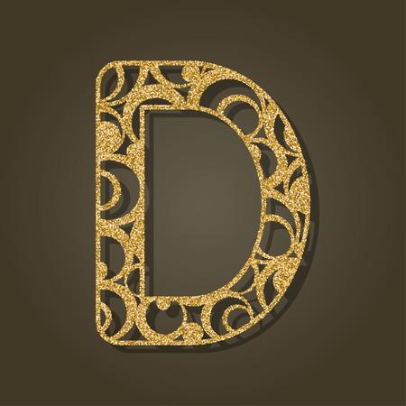 cut paper: Gold letter D for laser cutting. English alphabet. Vector illustration.