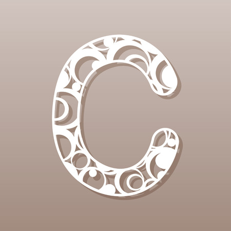 carved letters: Letter C for laser cutting. English alphabet. Vector illustration.