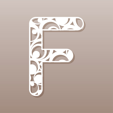 custom letters: Letter F for laser cutting. English alphabet. Vector illustration.