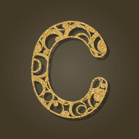 The gold letter C for laser cutting. English alphabet. Vector illustration. Illustration