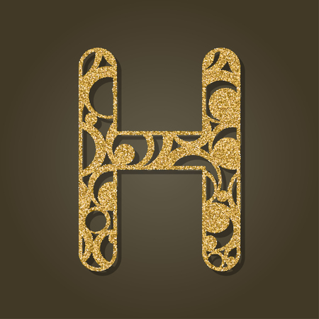 Gold letter H for laser cutting. English alphabet. Vector illustration.