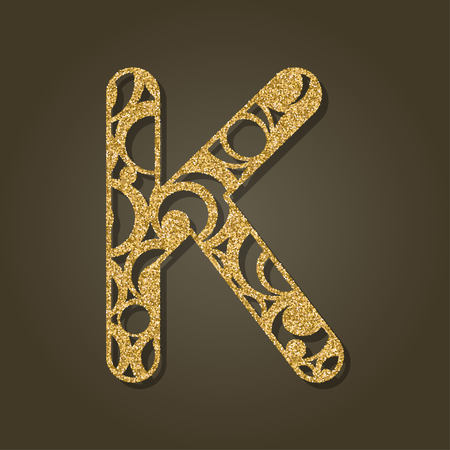 Golden letter K for laser cutting. English alphabet. Vector illustration. Illustration