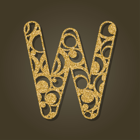 tree isolated: Gold letter W for laser cutting. English alphabet. Vector illustration. Illustration