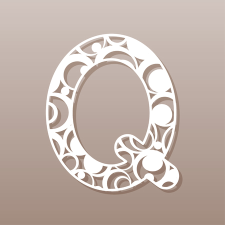 letter Q for laser cutting. English alphabet. Vector illustration.