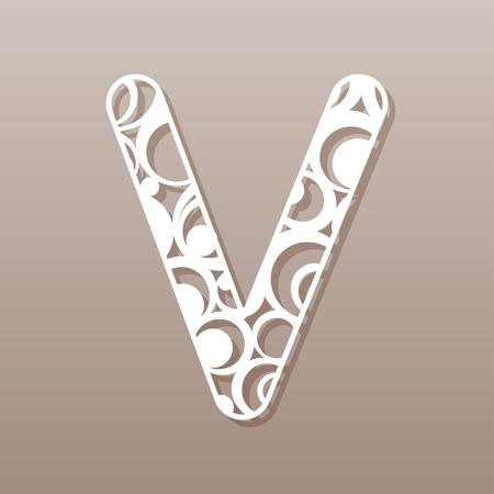 tree isolated: Letter V for laser cut. English alphabet. Vector illustration.