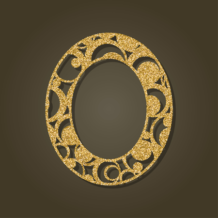 carved letters: Gold letter O for laser cutting. English alphabet. Vector illustration.