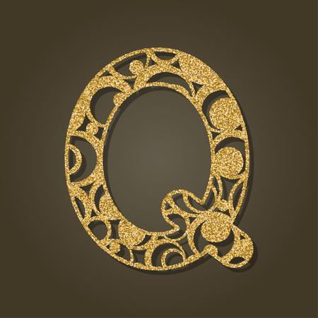 Lettre d'or Q pour la découpe au laser. Alphabet anglais. Illustration vectorielle Banque d'images - 80599433
