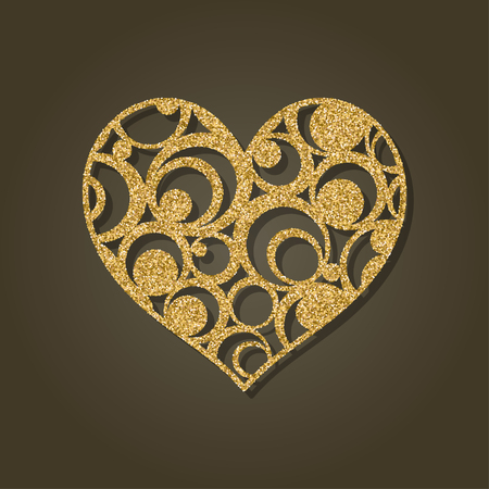 cut paper: Heart for laser cutting Round gold pattern Vector illustration. Illustration