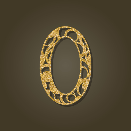Number zero for laser cutting Round gold pattern Vector illustration.