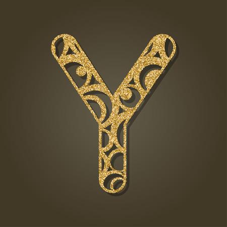steel: Gold letter Y for laser cutting English alphabet Vector illustration. Illustration