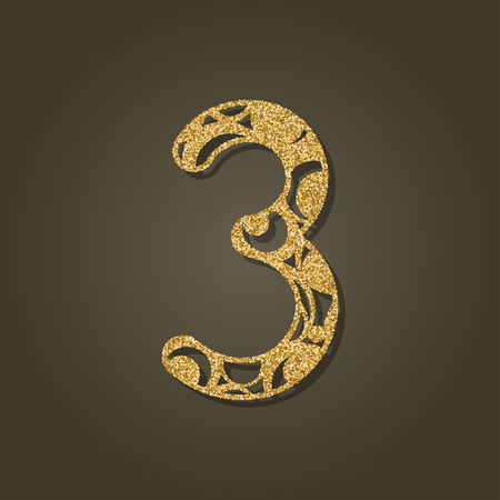 custom letters: Number three for laser cutting round gold pattern Vector illustration.