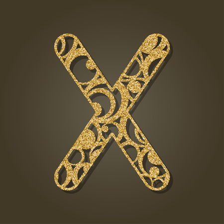Gold letter X for laser cutting Vector illustration. Illustration