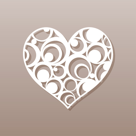 cut paper: Heart for laser cutting Vector illustration.