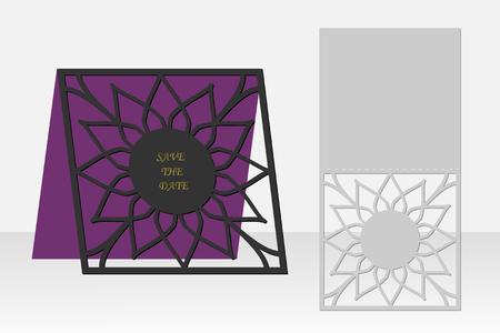 Carte avec motif géométrique floral pour la découpe au laser. Silhouette design. Il est possible d'utiliser pour des invitations d'anniversaire, des présentations, des salutations, des vacances, des célébrations, sauver le mariage de jour. Illustration vectorielle.